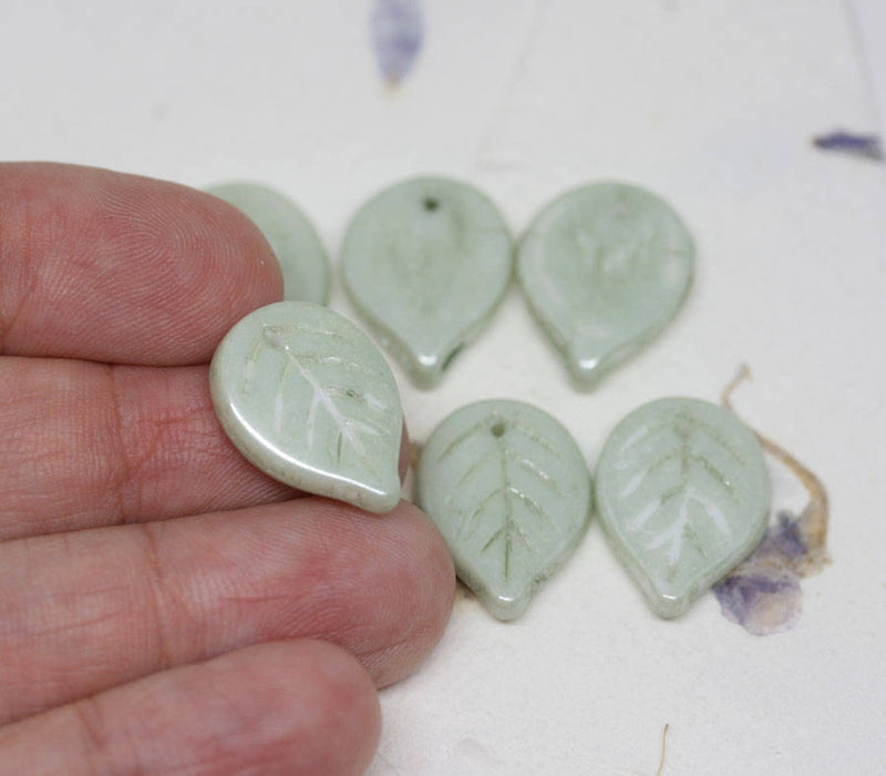 18mm Sage Green Large leaf beads, Lustered czech glass leaves, top drilled - 10Pc