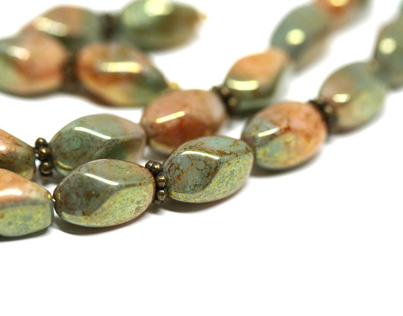 11x7mm Brown Green oval Mixed color czech glass barrel beads, 20Pc