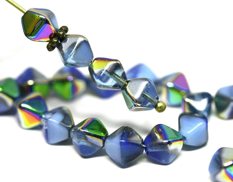 6mm Mixed Blue bicone beads Rainbow luster Czech glass Metallic - 30Pc