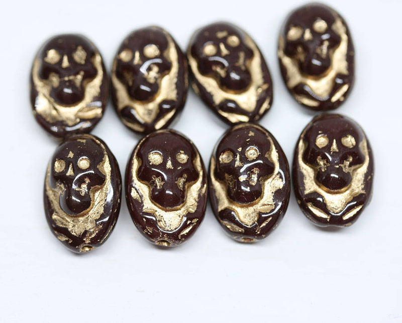 15x10mm Brown Glass Skull beads Golden Halloween decor Czech glass beads - 4Pc