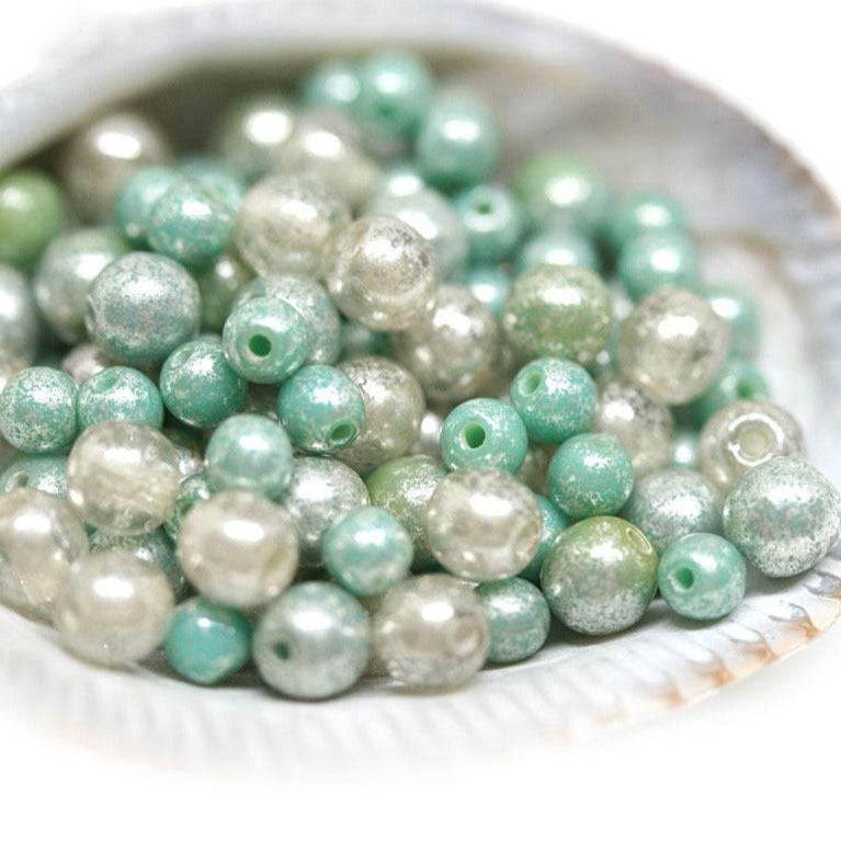 3mm 4mm Turquoise silver druk czech glass beads mix - approx.100pc