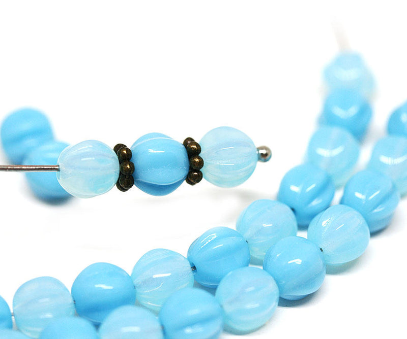 6mm Sky Blue beads mix Opal Blue czech glass Melon shape - 30pc