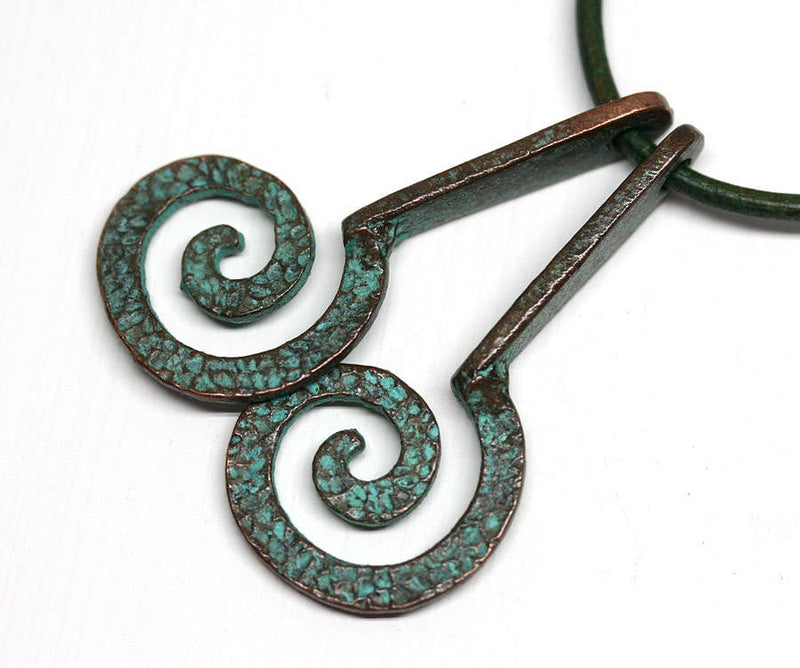 2pc hammered Spiral charms 42mm Green Patina Copper
