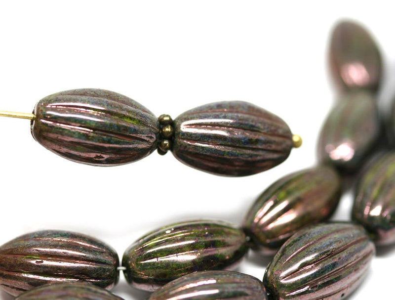 14x8mm Dark Bronze oval carved large czech glass barrel beads Luster coating - 8Pc
