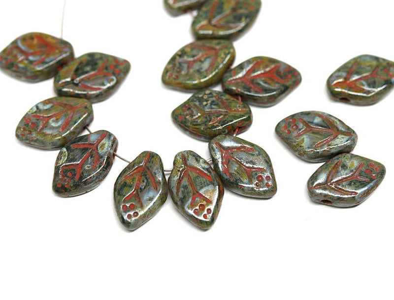 12x7mm Picasso brown green leaf beads Rustic Czech glass - 25Pc