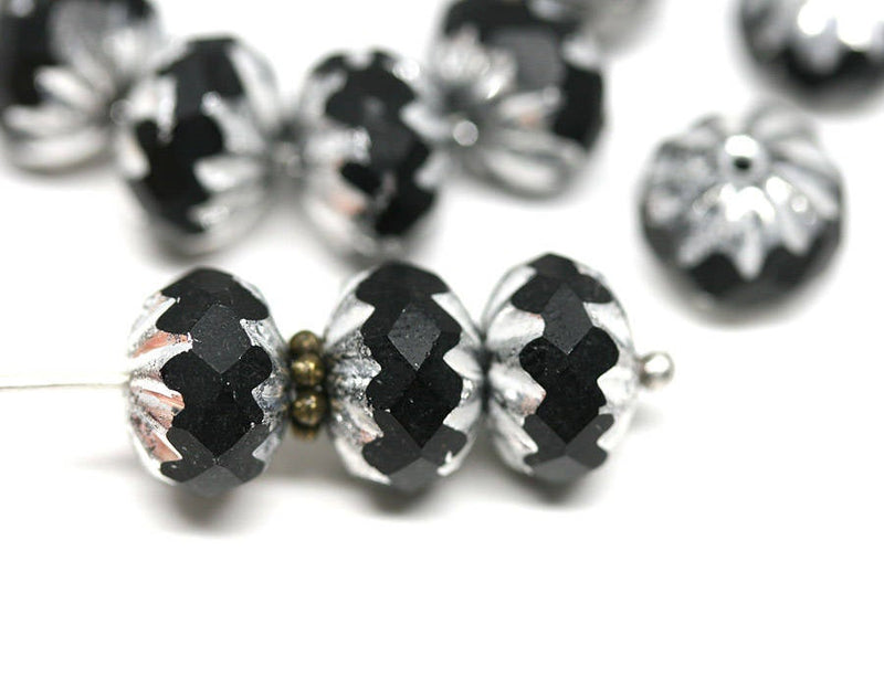 7x10mm Black Silver rondelle Crueller glass beads - 8Pc