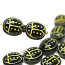 12Pc Black ladybug beads, Yellow dots, czech glass beads - 13mm