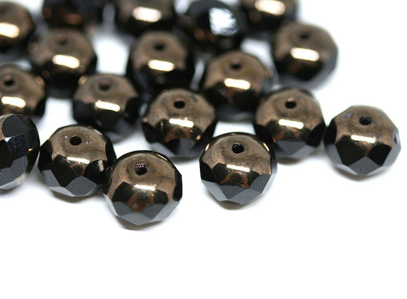 6x8mm Black rondelle czech glass beads, Dark Gold luster - 12Pc
