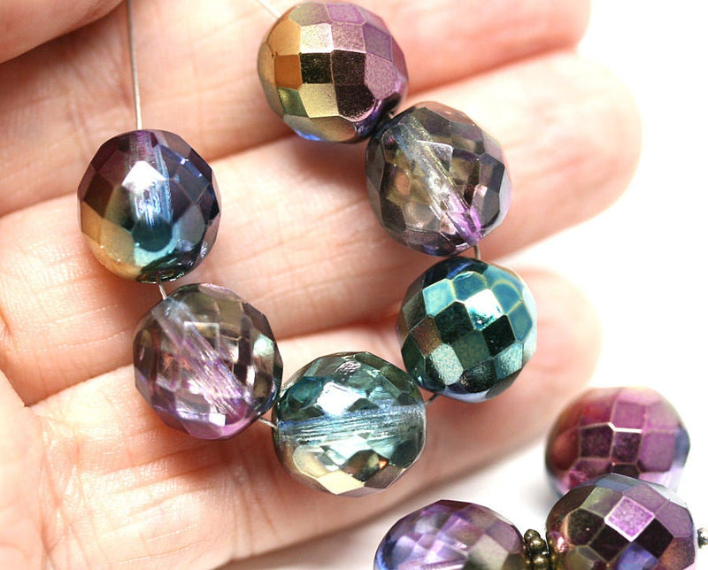 12mm Glass beads Peacock czech glass fire polished ball beads Purple Green 8pc