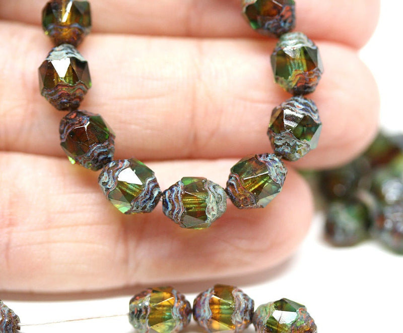 8x6mm Green Brown cathedral beads Picasso czech glass barrel beads Fire polished 15Pc