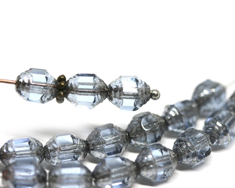 8x6mm Grey Blue cathedral czech glass barrel beads Fire polished 15Pc