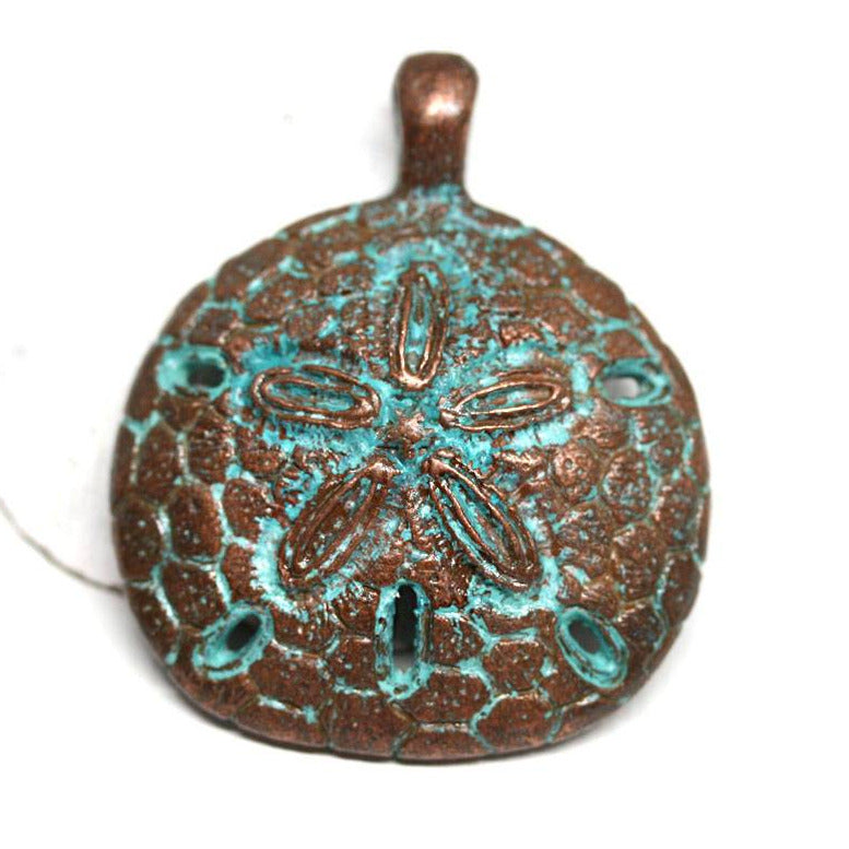 Sand dollar pendant bead Green patina Copper