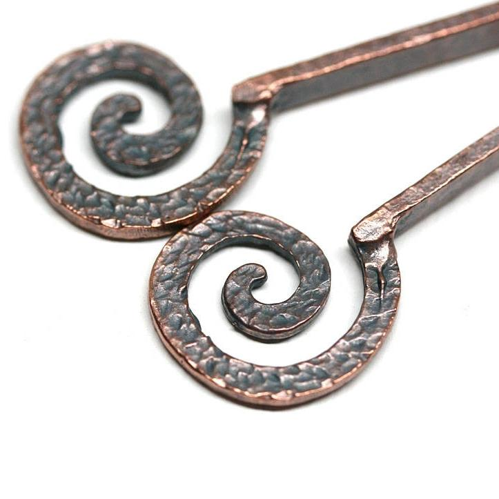 70mm Long spiral Antique copper hammered pendant 2Pc