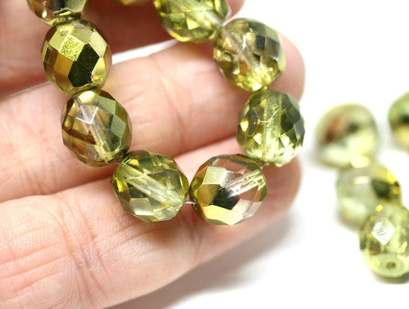 10mm Golden coated round czech glass beads fire polished - 10pc