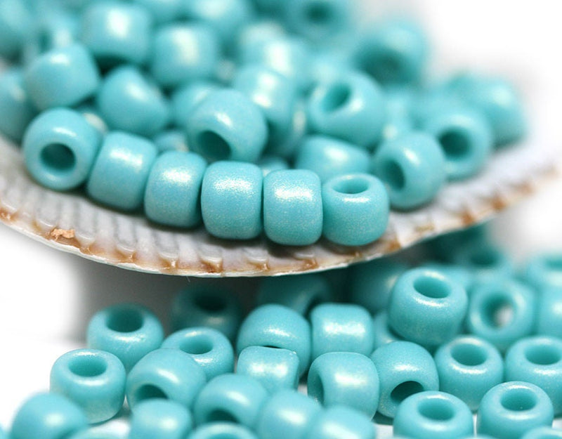6/0 Toho seed beads, Hybrid Sueded Gold Opaque Turquoise N Y627 - 10g