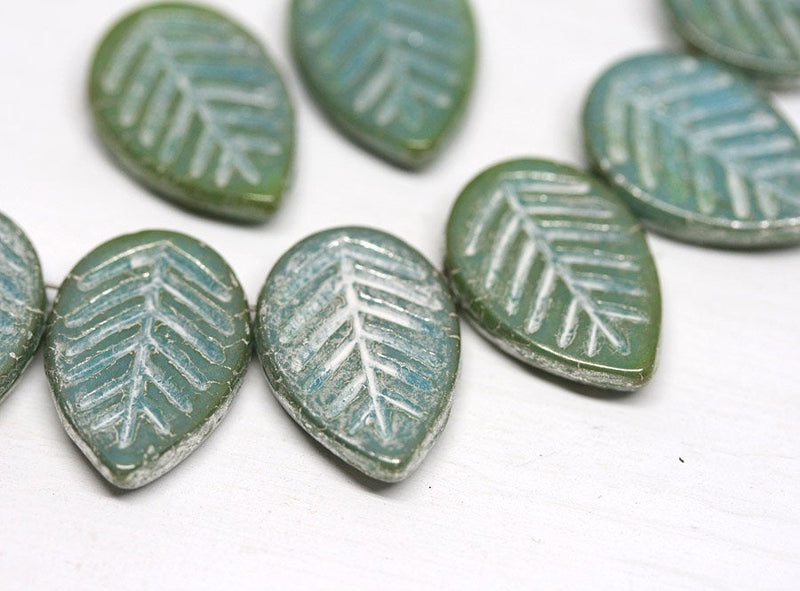 12x16mm Blue green glass leaf beads Side drilled White wash czech glass - 6pc