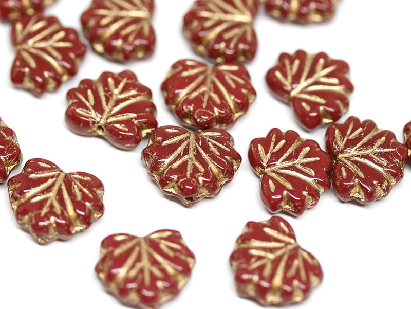 11x13mm Red Gold glass beads maple leaf Czech glass Golden inlays - 10Pc