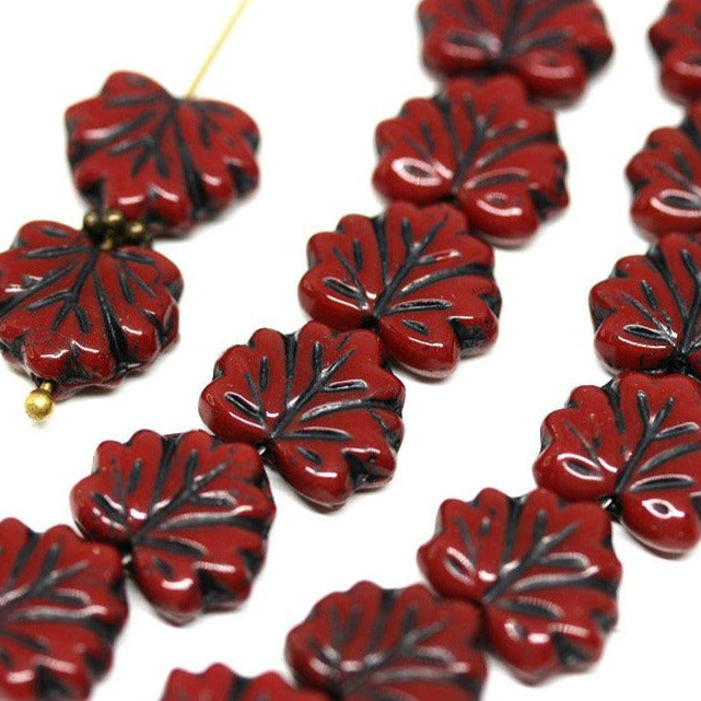 11x13mm Red Black glass beads maple leaf Czech glass Black inlays - 10Pc