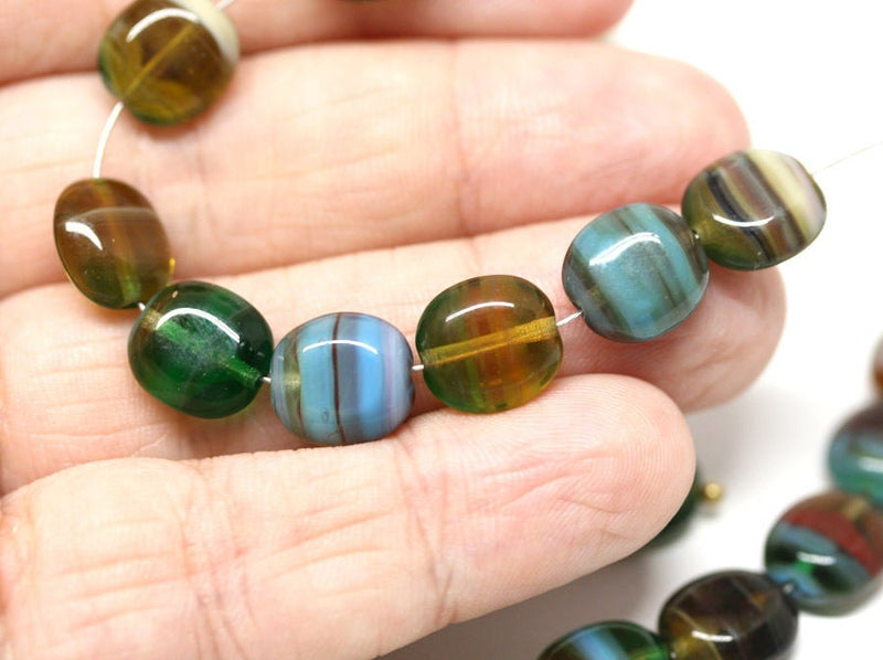 10x9mm Green Yellow mixed color flat oval Czech glass beads - 15Pc