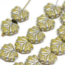 11x13mm Light Yellow glass leaf beads Silver inlays Maple leaves - 10pc