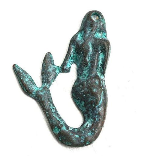 Mermaid pendant Green patina on copper