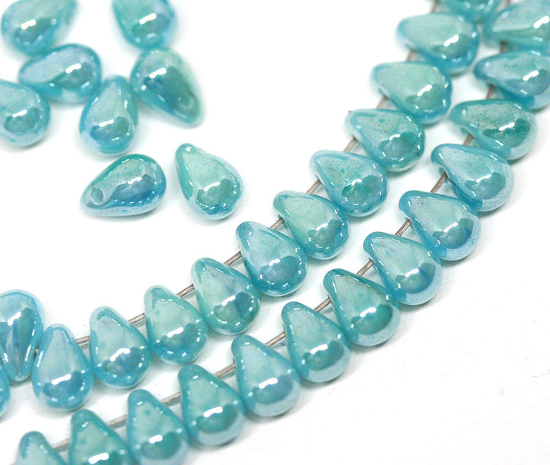 4x6mm Turquoise blue teardrop beads Tiny czech glass - 50Pc