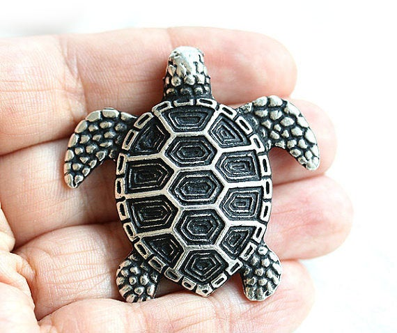 Antique Silver Turtle pendant bead