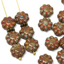 9mm Picasso brown Flower Czech glass beads, flat daisy - 20Pc