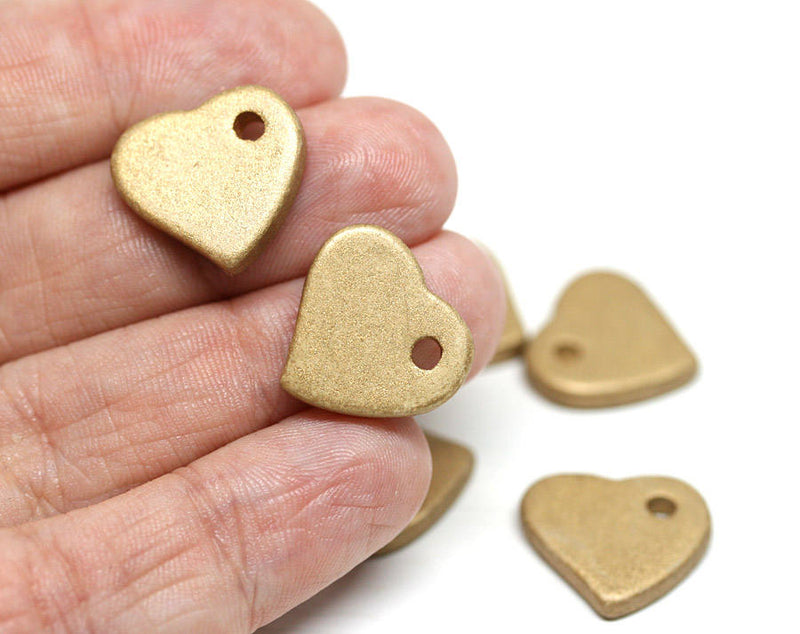 12pc Gold heart Ceramic heart beads