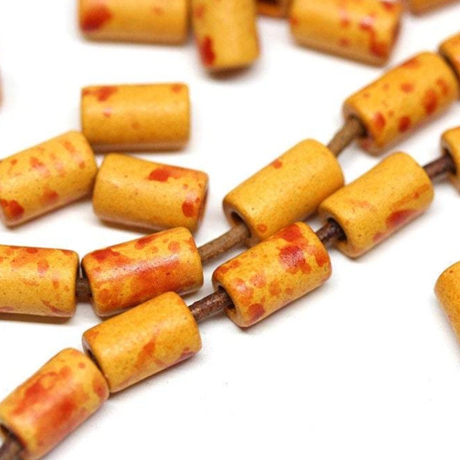 10mm Orange red tube ceramic beads 30pc