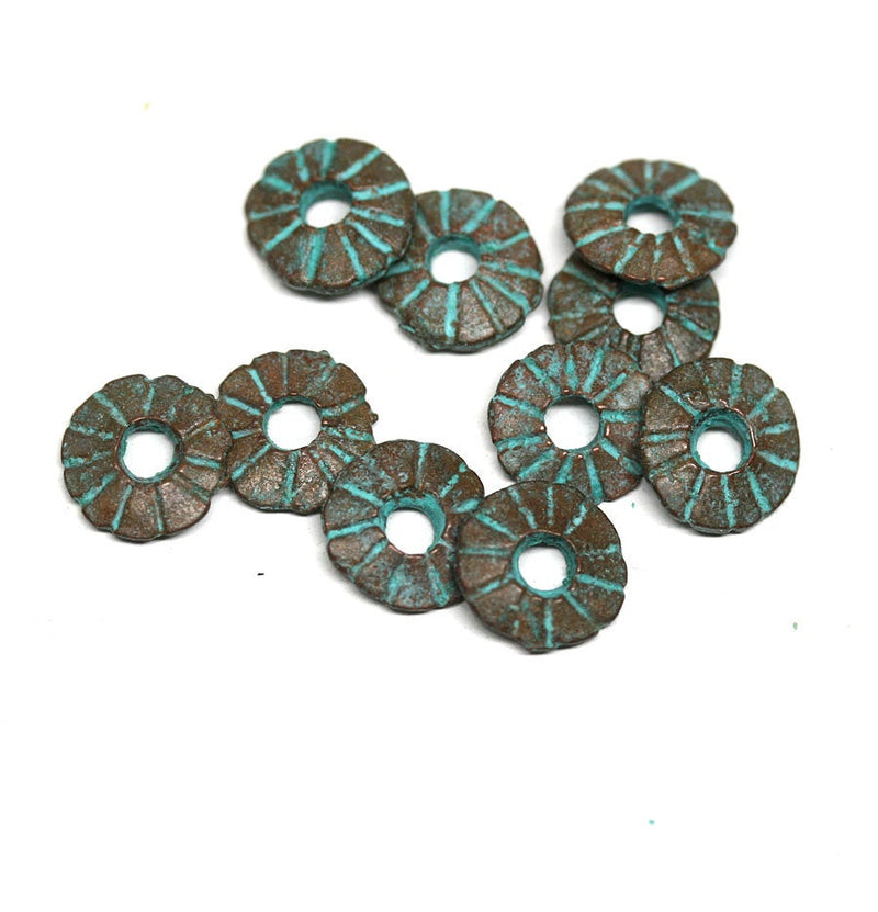 8mm Green Patina rondelle beads 2mm hole 10pc