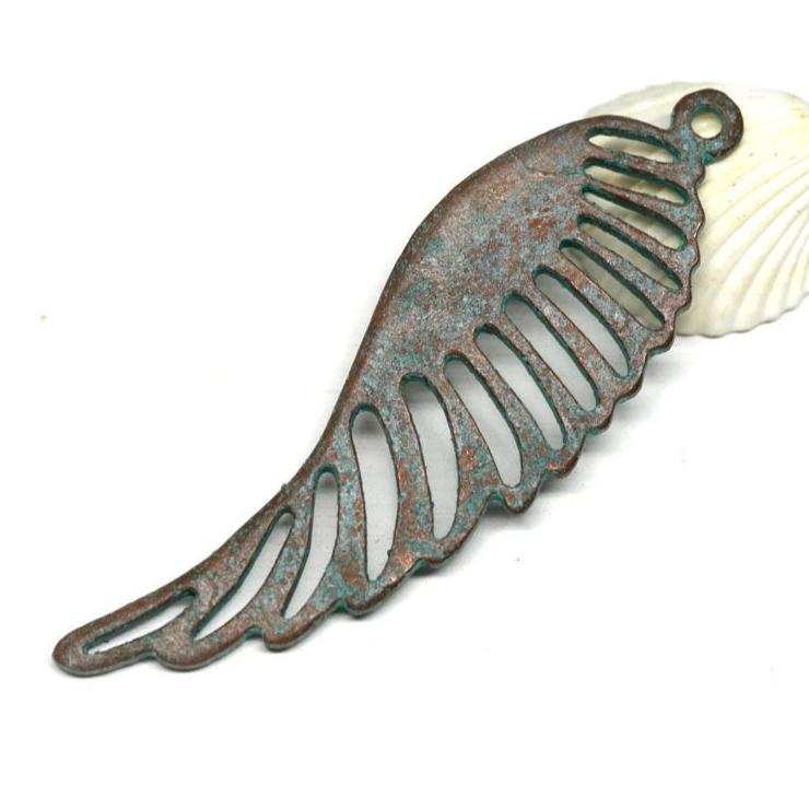 57mm Angel Wing pendant bead Green patina on copper