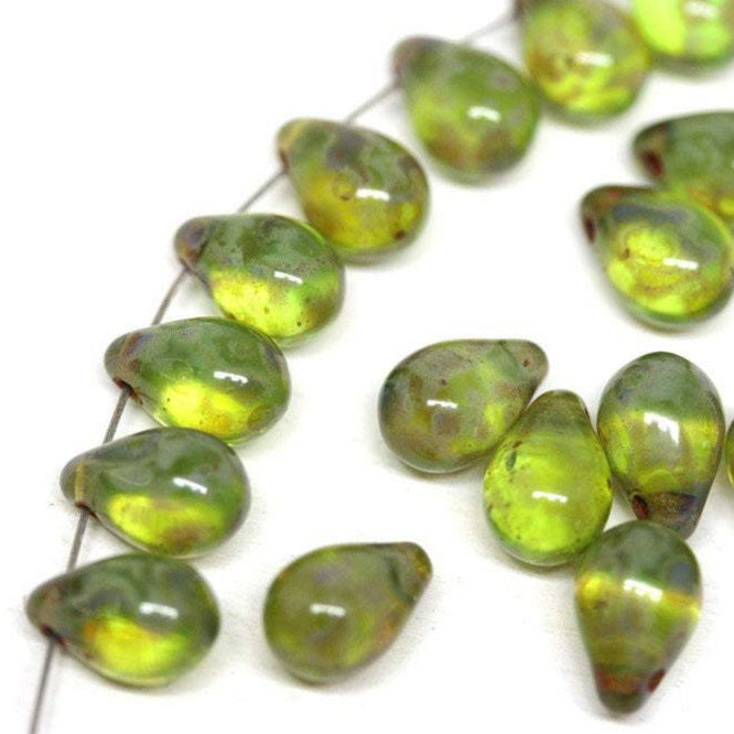 20pc Picasso green teardrop beads Czech glass - 6x9mm