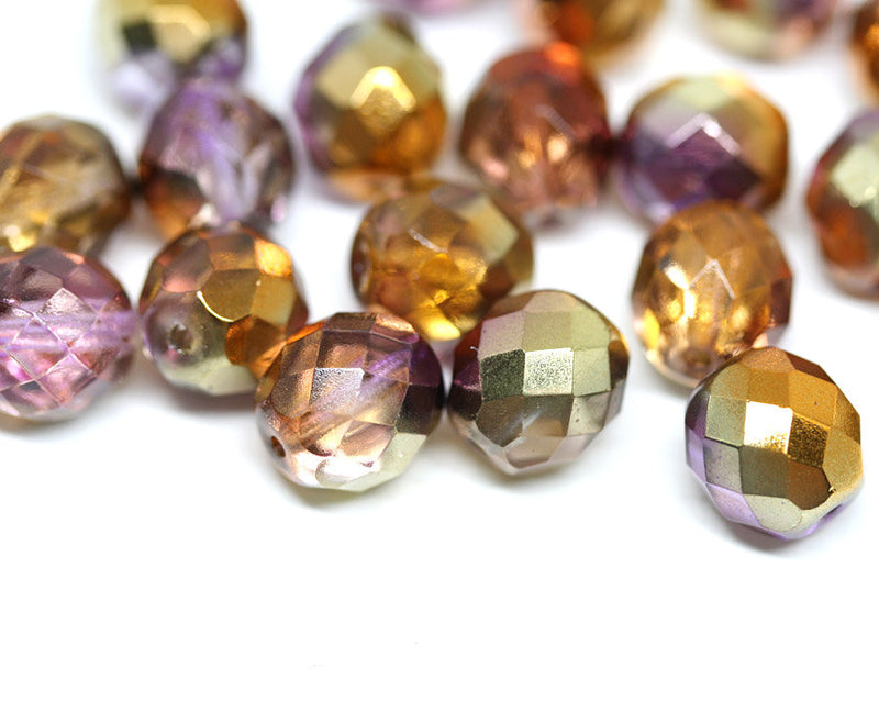 10mm Gold Purple czech glass beads fire polished - 10pc