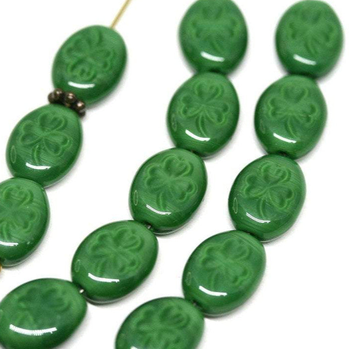 10x8mm Opaque green Green Shamrock glass beads - 20Pc