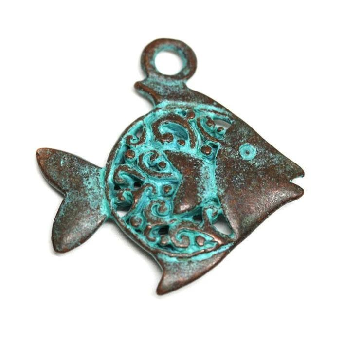 Filigree ornament Fish pendant Green patina copper