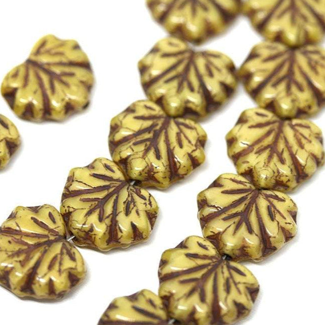 11x13mm Yellow Brown leaf beads Maple leaves Autumn colors Czech glass pressed beads - 10pc