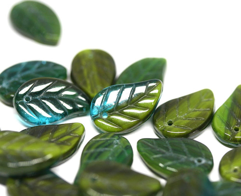20pc Green Czech glass leaves, Teal green mixed color - 14x9mm
