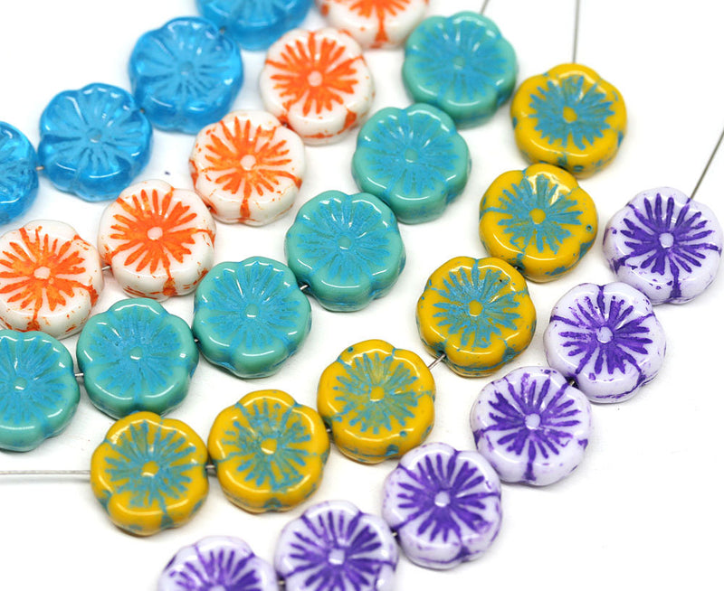 12mm Turquoise Pansy flower beads Czech glass Blue inlays daisy Hawaiian flower - 10pc