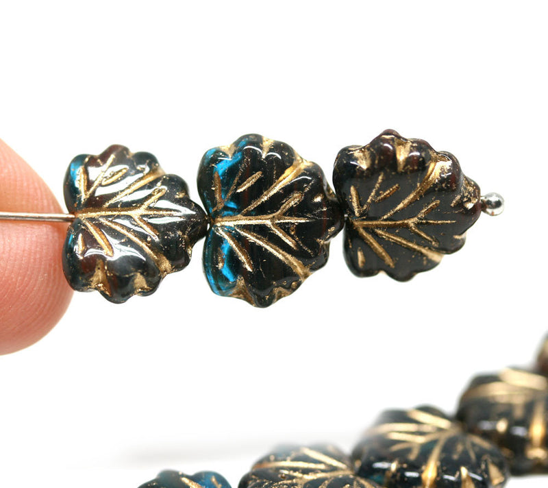 11x13mm Dark teal black leaf beads Golden inlays Czech glass Maple leaves - 10Pc