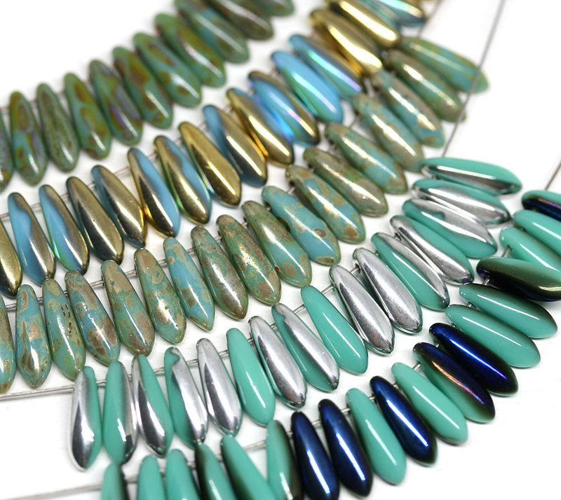 40pc Turquoise green Picasso finish Dagger Czech glass beads - 3x11mm