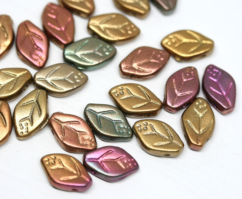 12x7mm leaf beads Metallic czech glass beads - 25pc