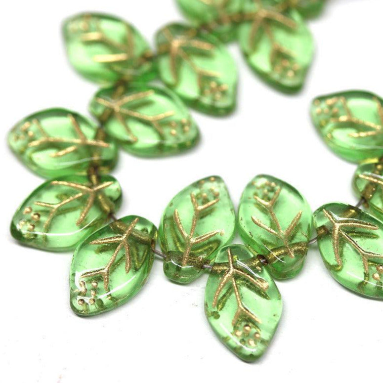 12x7mm Green leaf beads Golden inlays Czech glass pressed - 25Pc