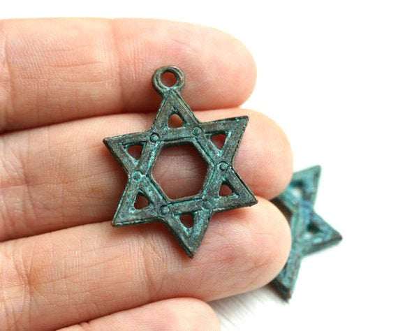Star of David Judaica pendant green patina