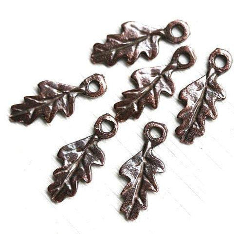 6Pc Antique copper small metal leaf charms