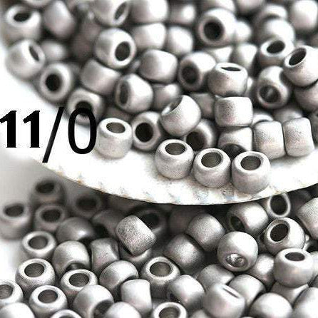 11/0 Toho seed beads, Frosted Antique Silver N 566 - 10g