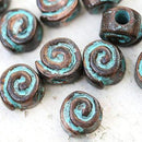 4pc Copper spiral beads Green patina 3mm hole