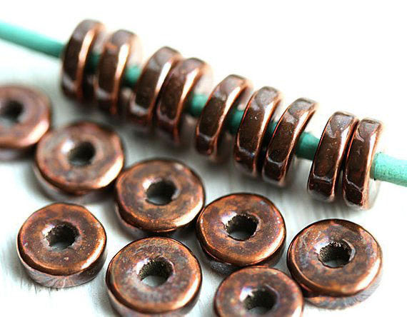 8mm Light Copper Metalized rondelle ceramic beads 20pc