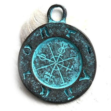 Ancient Symbols round pendant bead Verdigris patina on copper