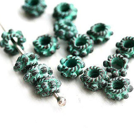 6mm Green patina Daisy spacer beads 2mm hole 15pc